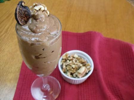 Chocolate kefir fig pudding