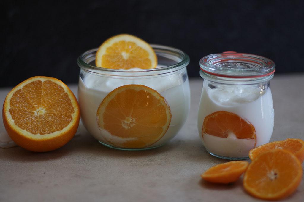 kefir and oranges